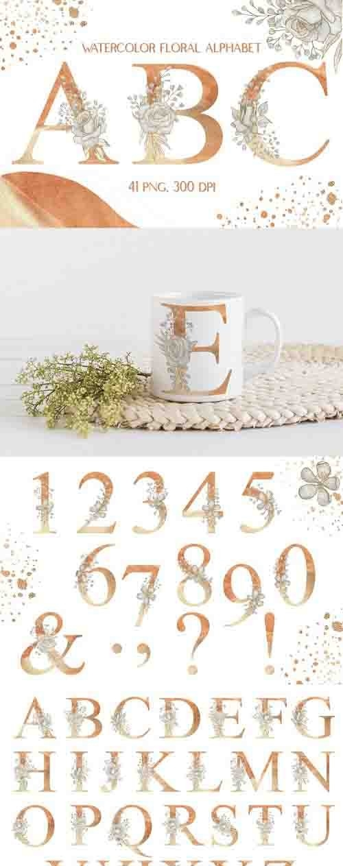 Watercolor Sublimation Floral Alphabet Neutral Colors - 1226206
