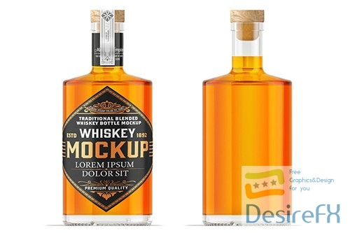 Whiskey Glass Bottle Mockup PSD