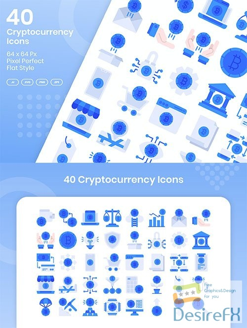 40 Cryptocurrency Icons Set - Flat