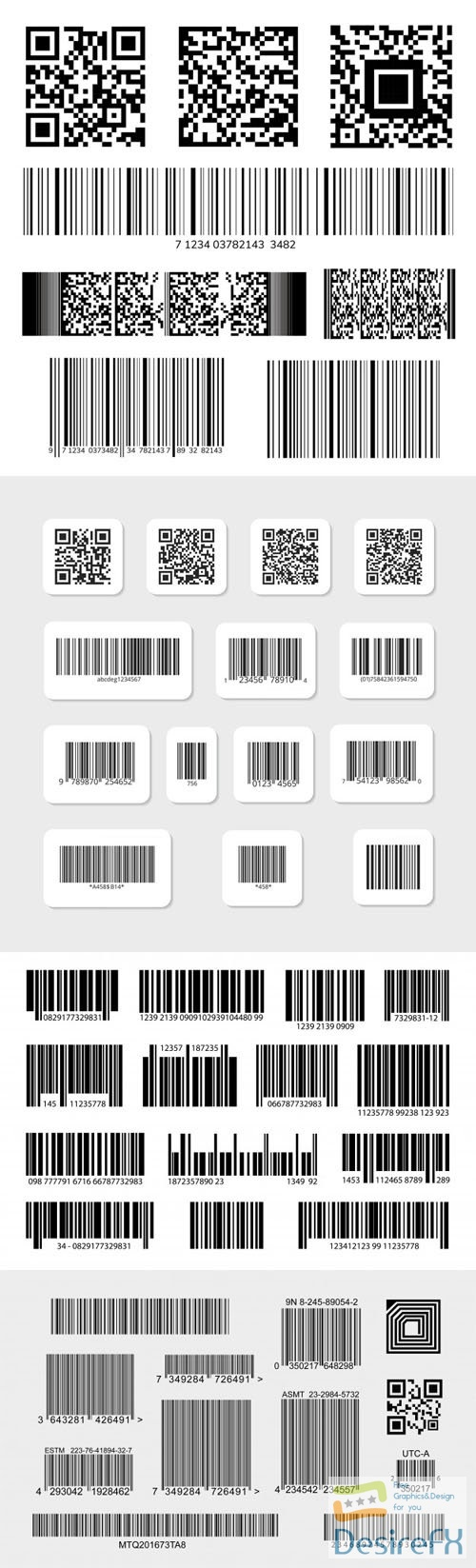 48 Various Digital Barcode Labels and Stickers Vector Templates