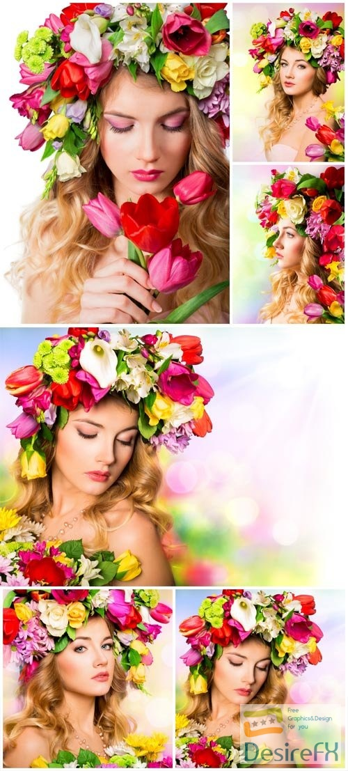 A wreath of flowers on a girl's head stock photo