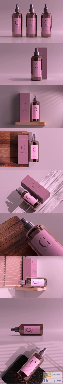 Amber glass cosmetic spray bottle mockup vol.2