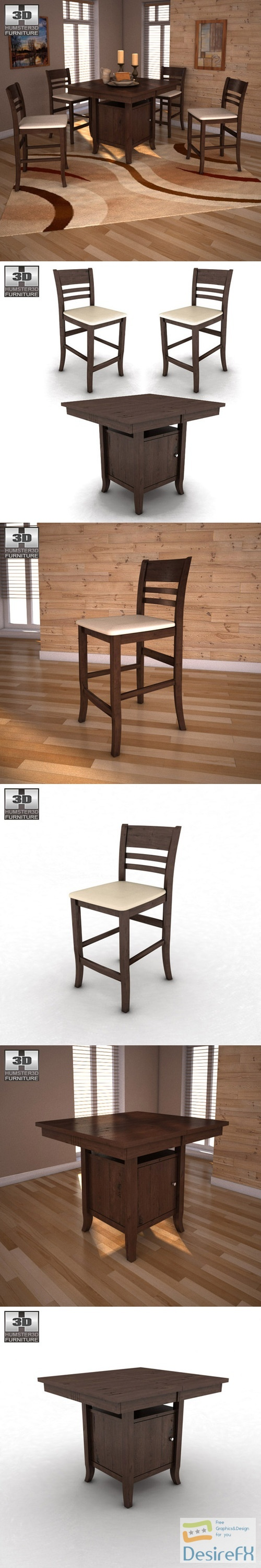 Ashley Lynx Extension Pub Table Barstools 3D Model