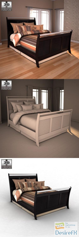 Ashley Pinella Queen Sleigh Bed 3D Model