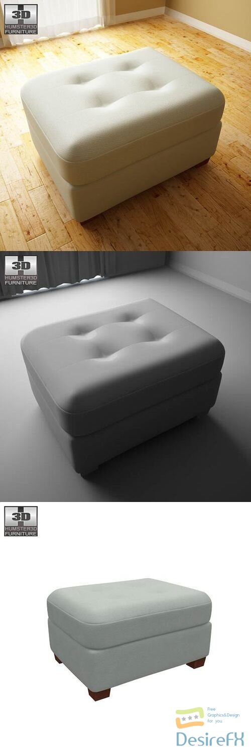 Ashley Zia - Spa Ottoman 3D Model