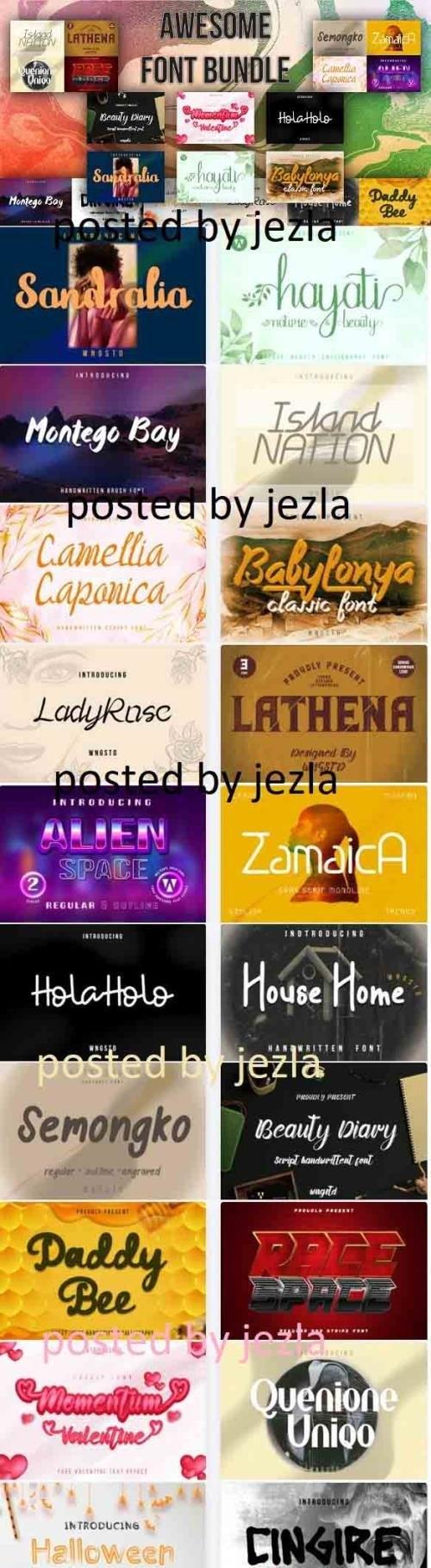 Awesome Fonts Bundle - 20 Premium Fonts