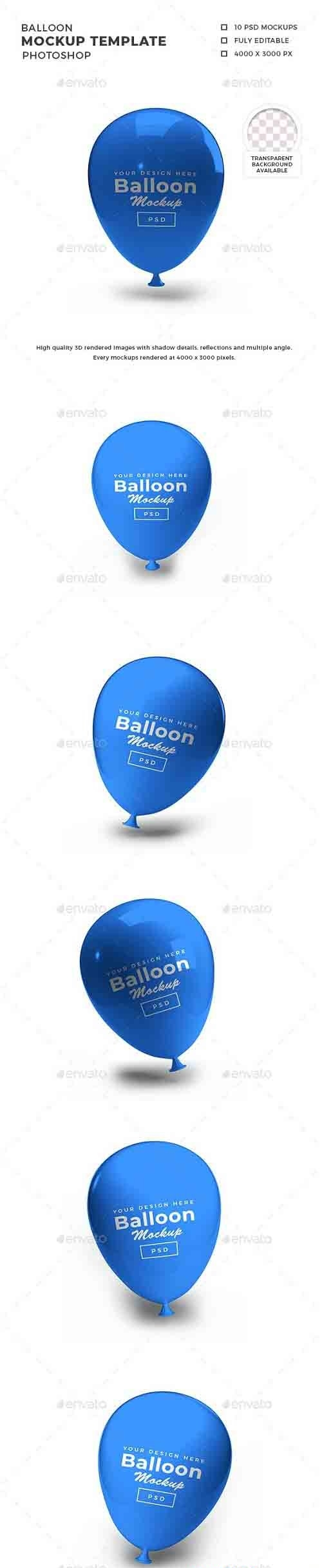 Balloon 3D Mockup Template - 30813881