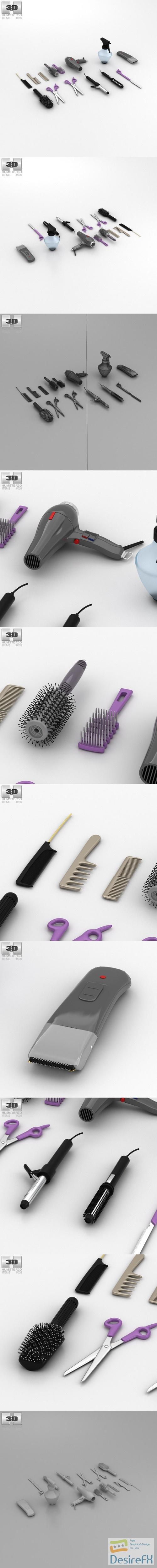 Barbershop Set 3D Model