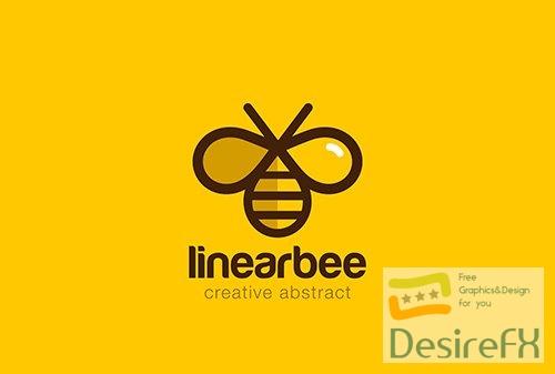 Bee logo linear vector