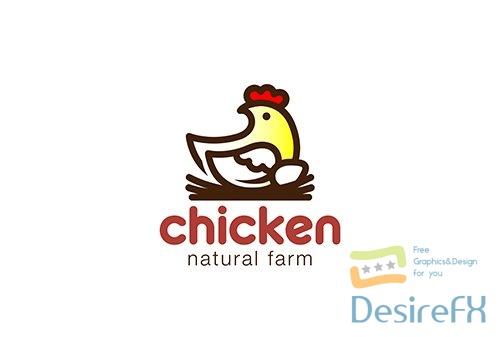 Chicken sitting nest logo linear vector