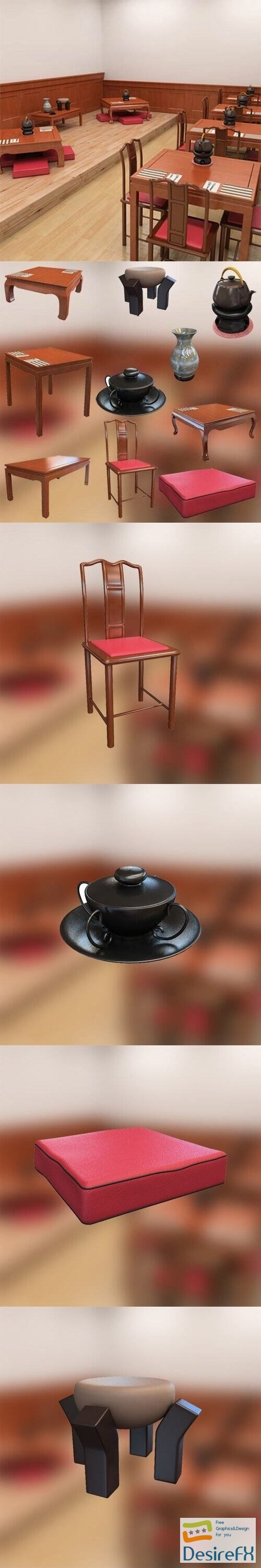 Chinese Interior Cafe 3D Model