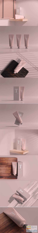 Cosmetic tube with box mockup