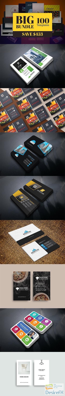 CreativeMarket - 100 Business Card Template Bundle 5910107