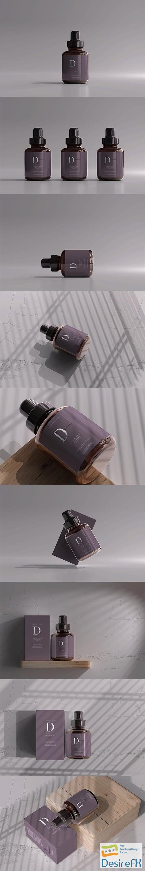 CreativeMarket - Amber Glass Dropper Bottle with Box 6055502