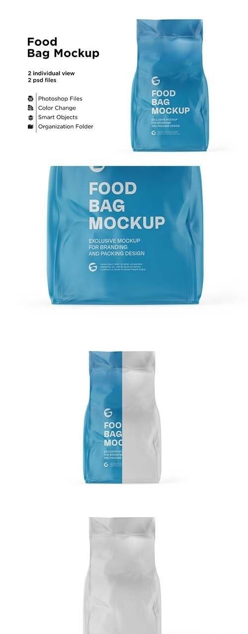 CreativeMarket - Glossy Food Bag Mockup 6063318