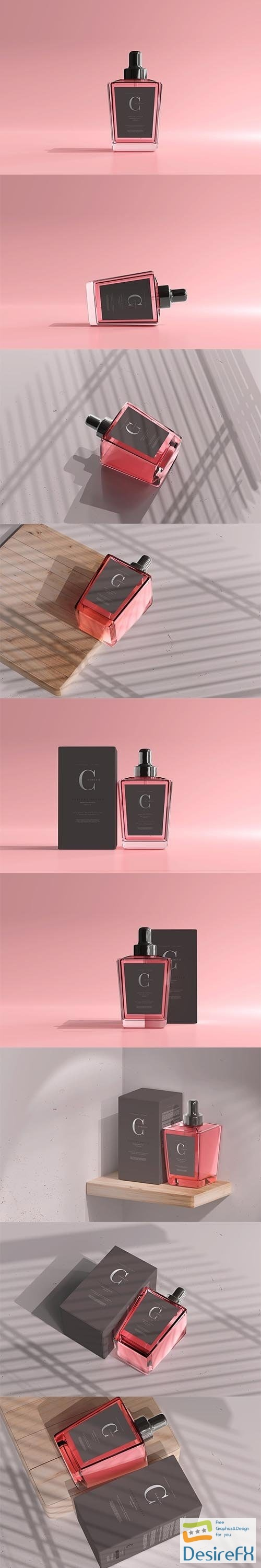 CreativeMarket - Perfume Bottle with Box Mockup 6056065