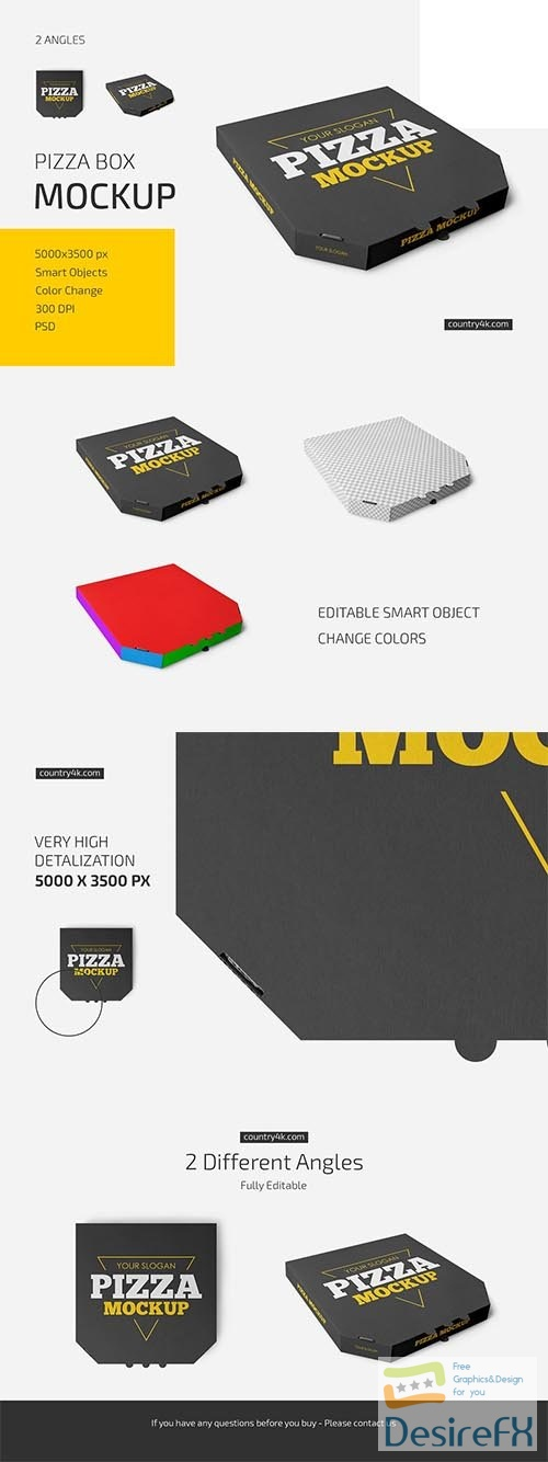 CreativeMarket - Pizza Box Mockup Set 6019339