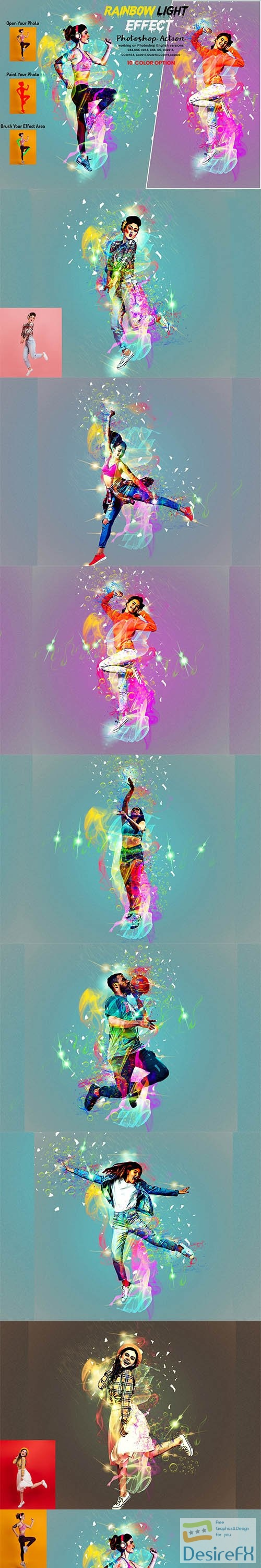 CreativeMarket - Rainbow Light Effect PS Action 5940257