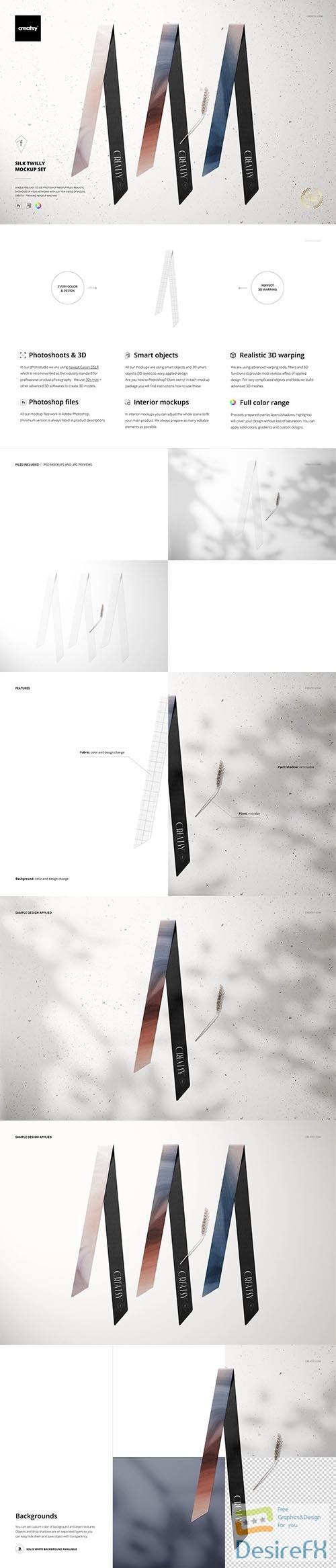 CreativeMarket - Silk Twilly Mockup Set 5914430