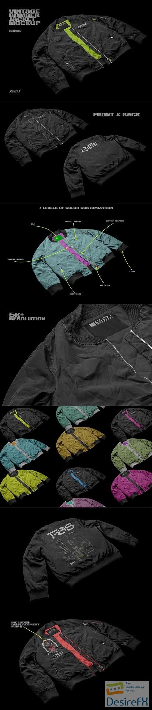 CreativeMarket - Vintage Bomber Jacket Mockup 5917217