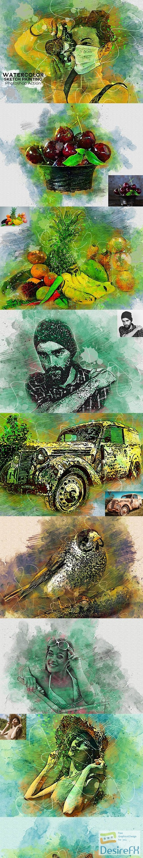 CreativeMarket - Watercolor Sketch Painting Ps Action 5157273