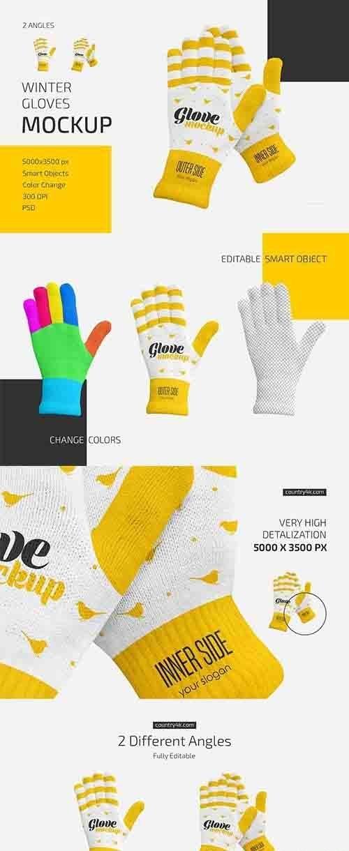 CreativeMarket - Winter Gloves Mockup Set 6016401