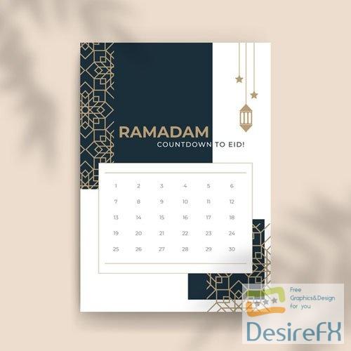 Elegant Monthly Islamic Ramadan Calendar Vector Template