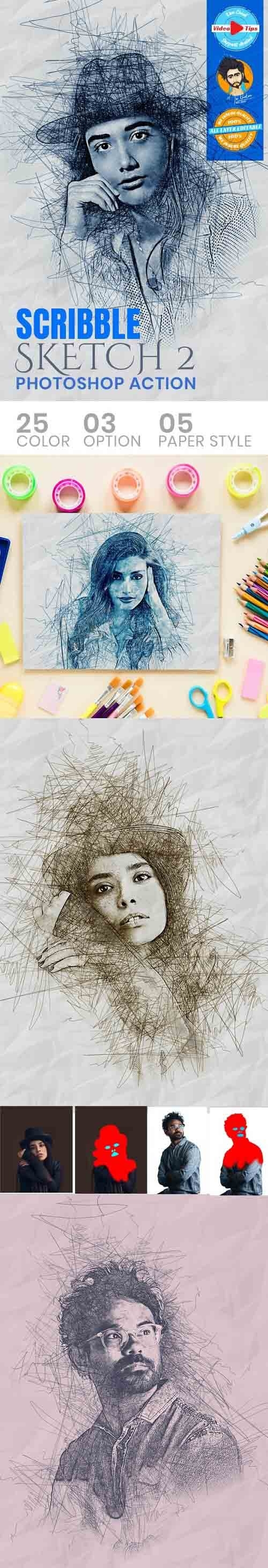 GraphicRiver - Scribble Sketch Photoshop Action 31050617