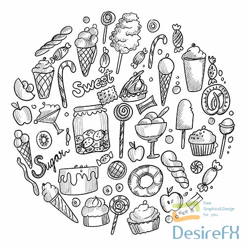 Hand-draw sketch doodle sweets candy ice cream design