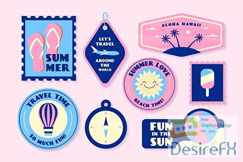 Holidays summer sticker collection 70s style