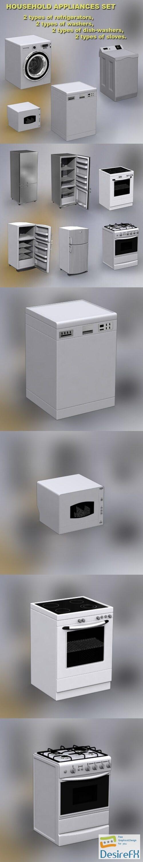 Household Appliances Set 3D Model