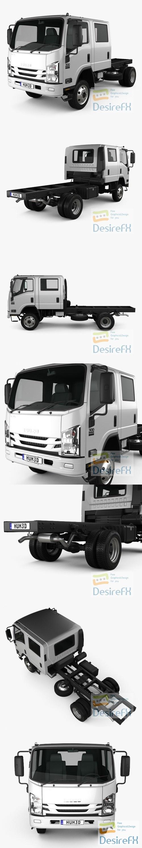 Isuzu NPS 300 Crew Cab Chassis Truck 2015 3D Model