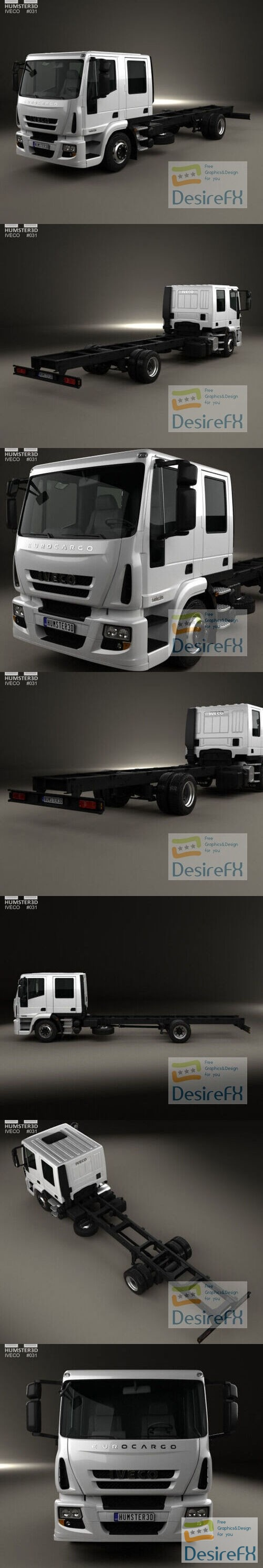 Iveco EuroCargo Double Cab Chassis Truck 2008 3D Model