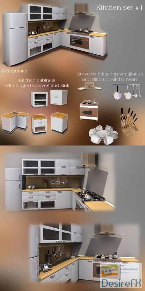 Kitchen Furniture Set 3D Model