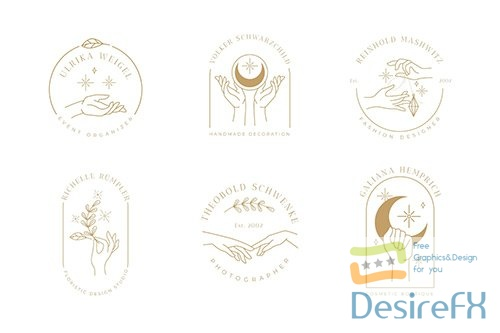 Minimalist hands logo collection