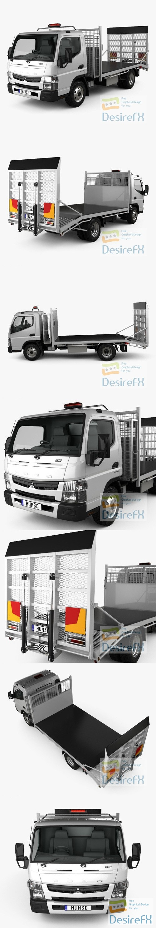 Mitsubishi Fuso Canter Wide Single Cab Tilt Tray Beaver Tail Truck 2016 3D Model
