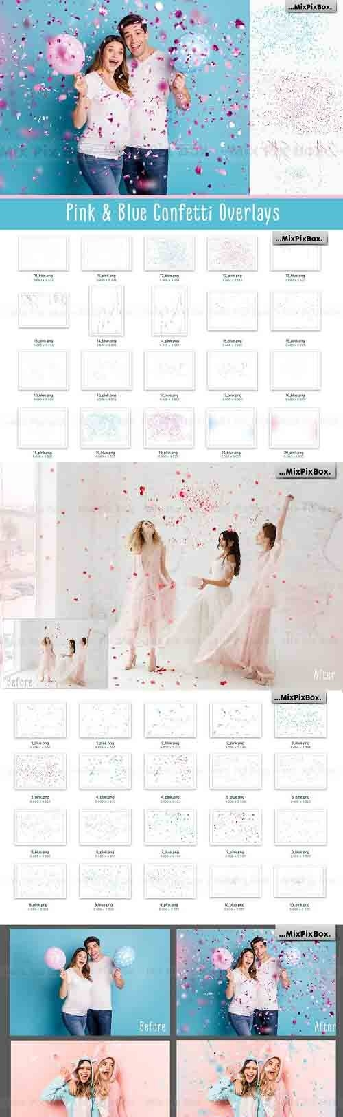Pink and Blue Confetti Overlays - 6032880