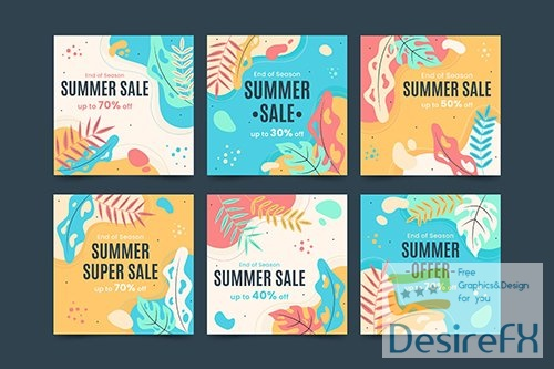 Summer Concept Social Media Vector Template