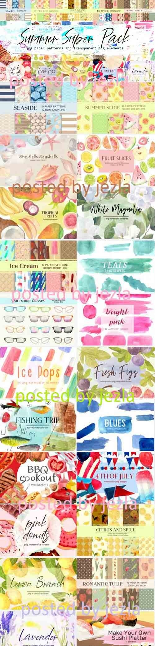Summer Floral, Food, and Fun Graphic Set