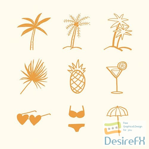 Summer palm trees vector and vacation motifs diary stickers doodle collection
