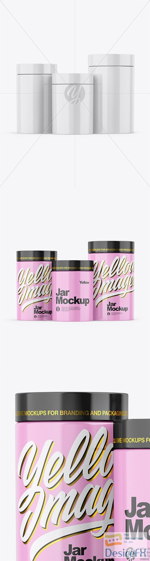 Three Glossy Jars Mockup 57654 TIF