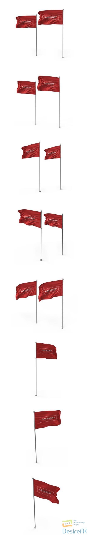 Waving flag 3d mockup