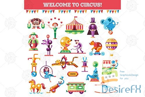 Welcome to circus - flat design style icons set
