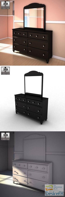Ashley Jaidyn Dresser Mirror 3D Model
