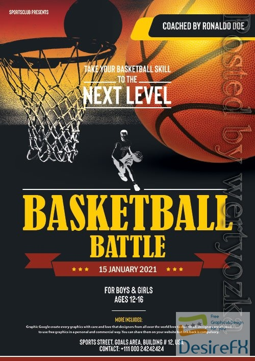 Basketball Flyer PSD Design Template