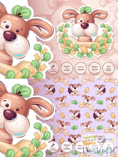 Cartoon character adorable puppy 6115441