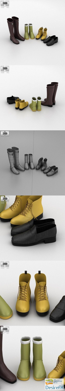 Footwear Set Winter 3D Model