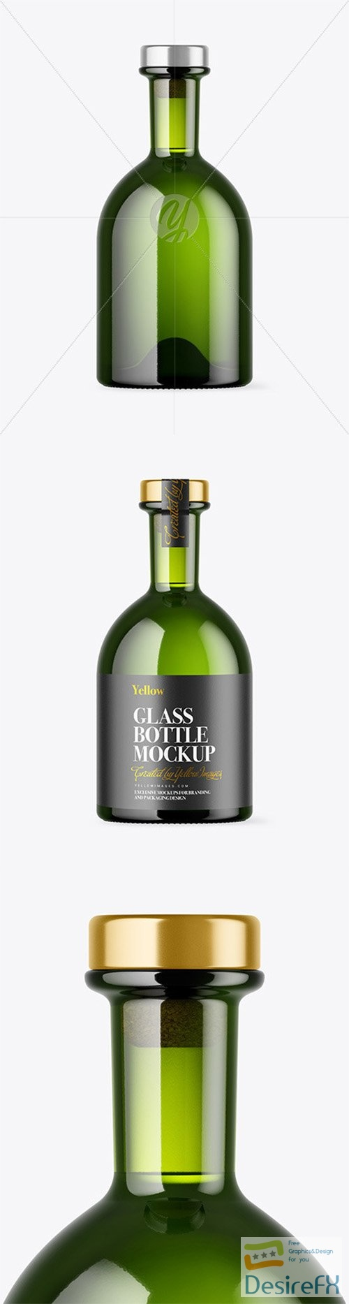 Green Glass Bottle with Wooden Cap Mockup 79679 TIF