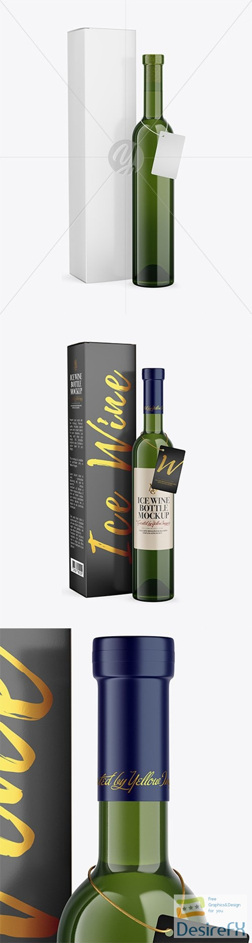 Green Glass White Wine Bottle With Box Mockup 79254 TIF