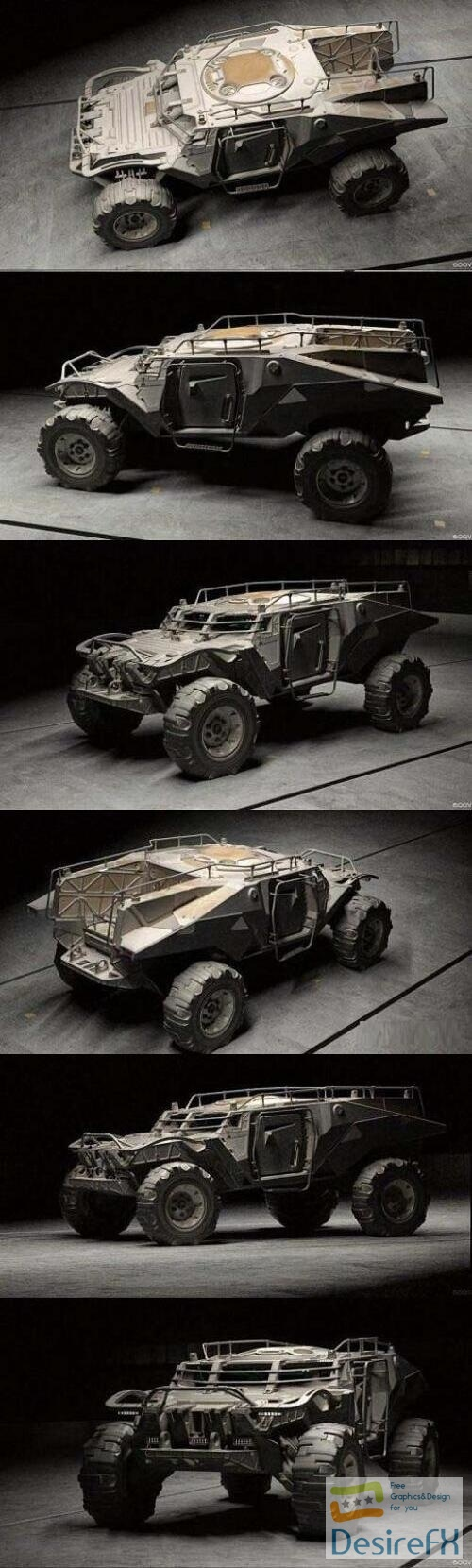 NOMAD 355 BRM Military Concept Vehicle 3D Model